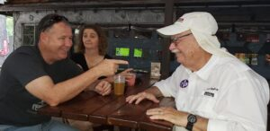 Rally Master Ken chatting with participants at the Moontower Road Rally July 20, 2019