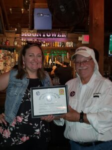 Certificate of Appreciation to Moontower Saloon at the Moontower Road Rally July 20, 2019